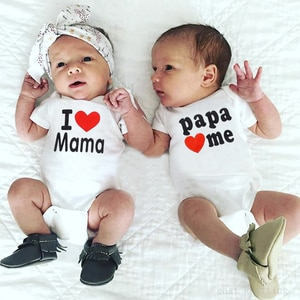 I Love Mama Papa Baby Onesie Toddler Jumpsuit Baby Clothing Welcome Home Coming Home Outfit Playsuit