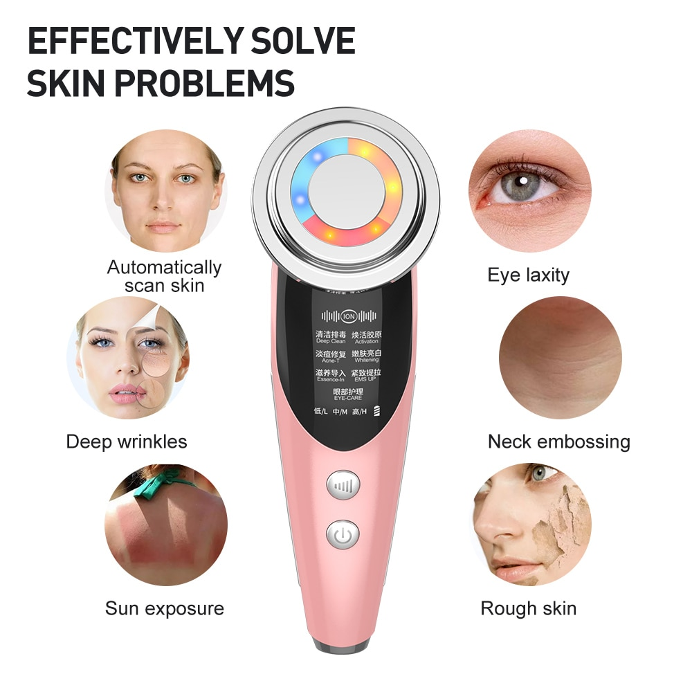 Face Massager Skin Care Beauty Device LED Facial Lifting Beauty Sonic Vibration Wrinkle Removal Anti Aging Radio Frequency