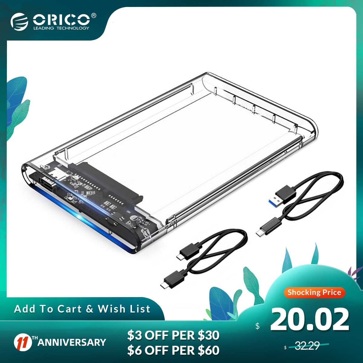 ORICO 2.5 Inch HDD Case SATA to USB 3.1 Gen2 10Gbps Type C Hard Disk Drive External HDD Enclosure Transparent Case Tool Free 4TB