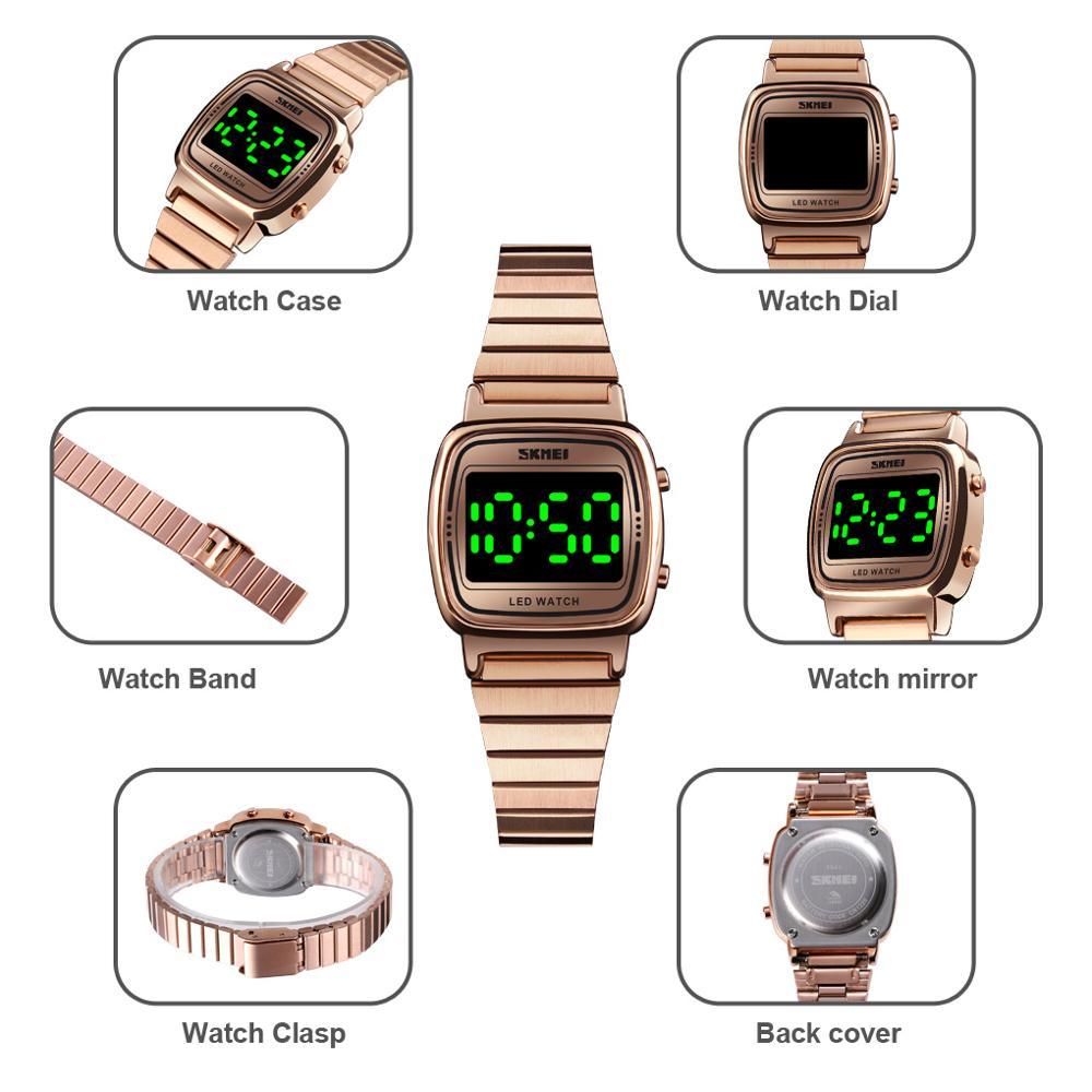 SKMEI Top Brand Female Girls Waterproof Wristwatch Fashion Women LED Light Digital Watch Montre Femme 1543 Clock Ladies Watches enlarge