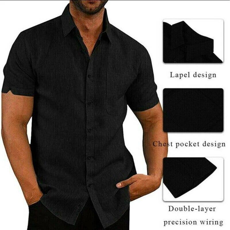 Camiseta casual del algodón y del lino de la camisa del verano...