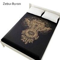 3D מיטת גיליונות על גומייה מיטה מצויד גיליון 160x200 מזרן כיסוי מיטה. סדין מצעים מיטת פשתן זהב ינשוף לוכדים חלומות