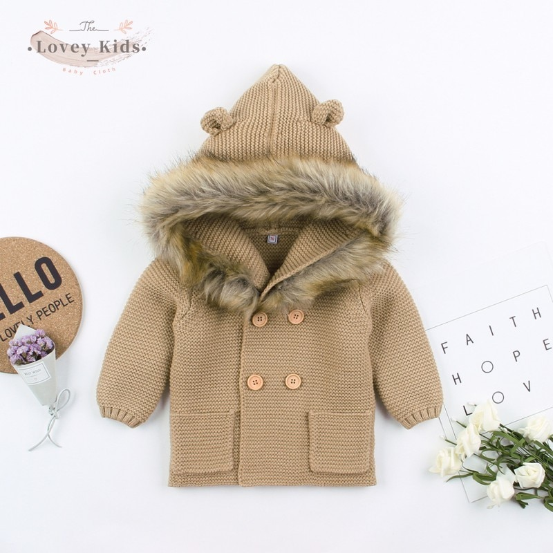 Winter Baby Boys Girls Knitted Coat Cardigan Cute Jackets 2020 Outfits Warm  0-24M Infant Kids Fur H