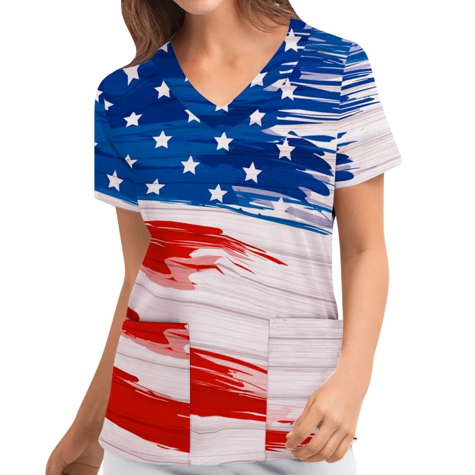 Independence Day Flag Print Scrubs Women Short Sleeve V-neck Carer Top Blouse Female Overalls Nurse Uniform Медицина Одежда A20