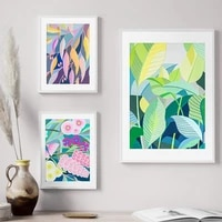 nordic flower leave poster leaves abstract wall art canvas painting and printing for bedroom livingroom home decor