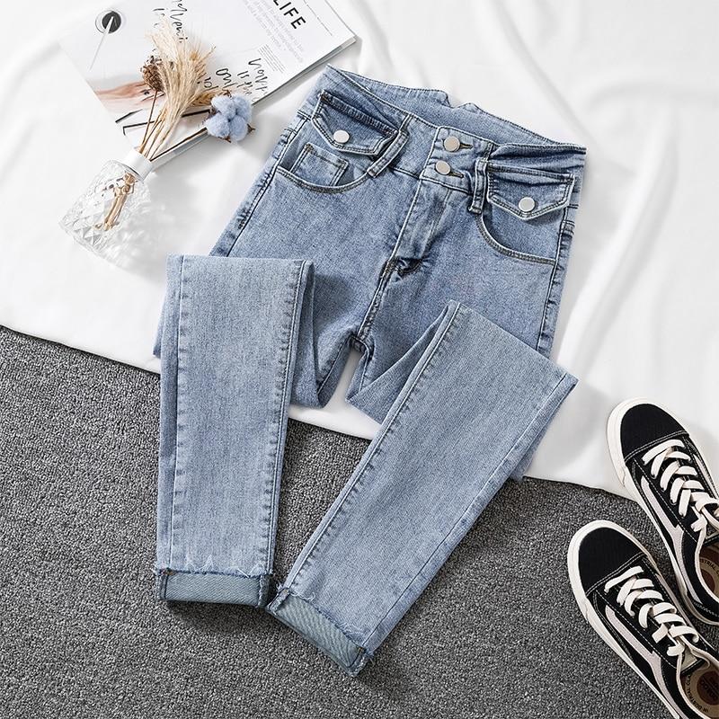 High Elastic Skinny Jeans Woman 2020 New Arrive High Waist Light Blue Denim Pencil Pants Woman Korean Chic Pocket Button Jean