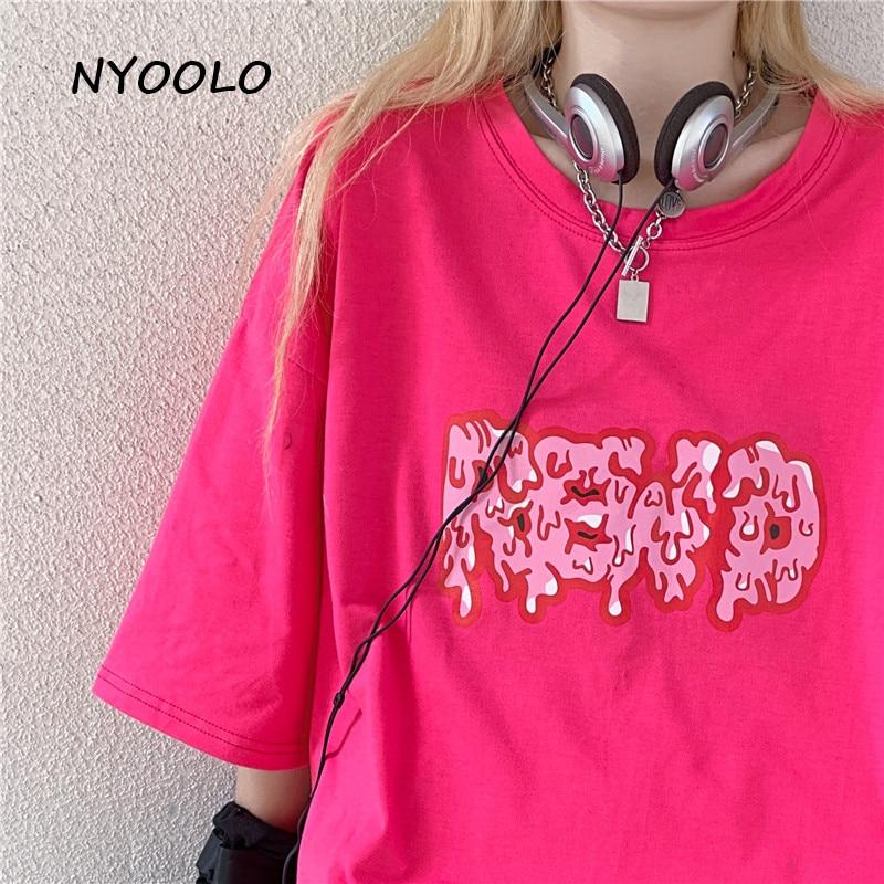 NYOOLO Harajuku streetwear sweet letters print short sleeve T-shirt women clothes Summer loose O-neck hip hop tee shirt tops