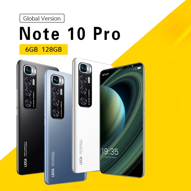 Note 10 Pro Global Version Smartphone Android 10.0 Mobile Phones 6GB+128GB Phone 6.1 Inch 4G/5G Dual