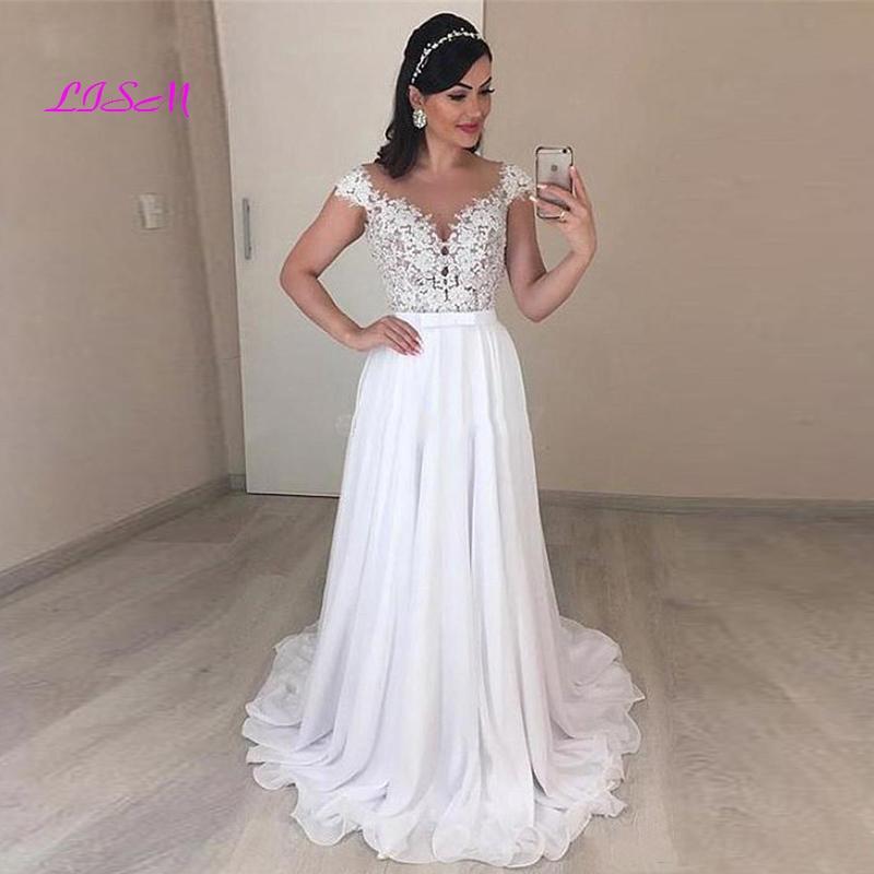Boho Wedding Dresses Cap Sleeve A Line Chiffon Long Backless Beach Wedding Gown Appliques Lace Wedding Bride Gowns 2020 недорого