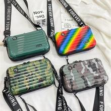 New Luxury HandBags for Women Suitcase Shape Totes Fashion Personality Camouflage Luggage Women Famo