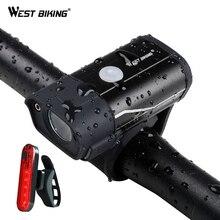 WEST vélo 350 Lumens vélo avant lumière étanche vélo lumière USB Rechargeable côté avertissement lampe de poche 5 Modes vélo lumière