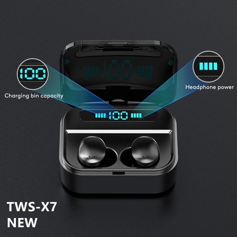 سماعات لاسلكية سماعة رأس بخاصية البلوتوث 5.0 مع ميكروفون شاشة LED في اتجاهين دعوة القضاء على الضوضاء المضادة للعرق مع صندوق شحن