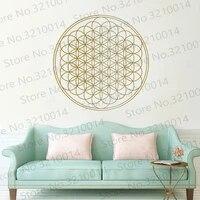 Autocollant Mural en vinyle avec fleur de vie  motif geometrique  decoration pour la maison  style boheme et Yoga  WL741