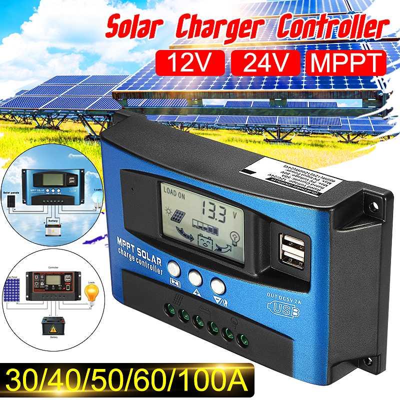 30/40/50/60/100A 12 فولت 24 فولت MPPT الشمسية وحدات تحكم السيارات الشمسية جهاز التحكم في الشحن شاشة الكريستال السائل وحدات تحكم المزدوج USB 5 فولت الناتج