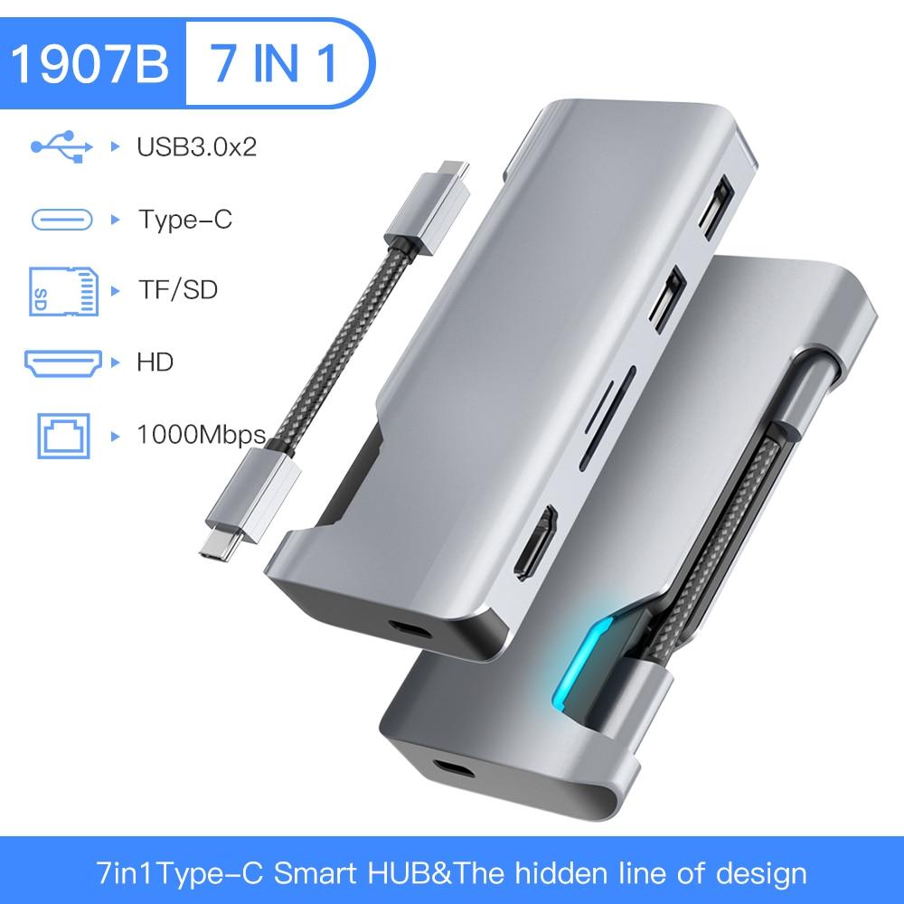 1907B نوع C Hub 4K 1080P HDMI متوافق مع RJ45 1000M بطاقة الشبكة USB C Hub محول للكمبيوتر ماك بوك برو/هاتف أندرويد