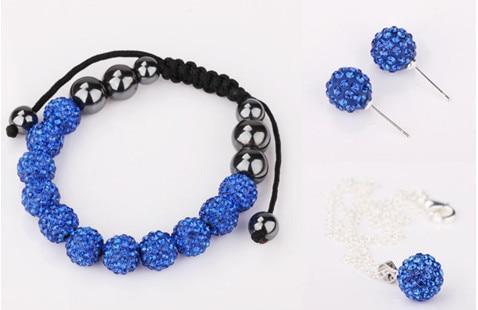 Free shipping  kiu  pave CZ Disco Ball Beads Crystal  Set Bracelet Earring  fasion women Gift jewelry Nft435
