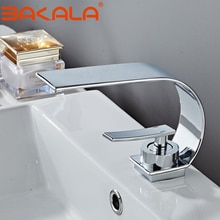 Copper Single Hole Dual Handles Hot and Cold Basin Mixer Faucet Creative Waterfall Water Outlet Bathroom Vessel Sink Mixer Taps
