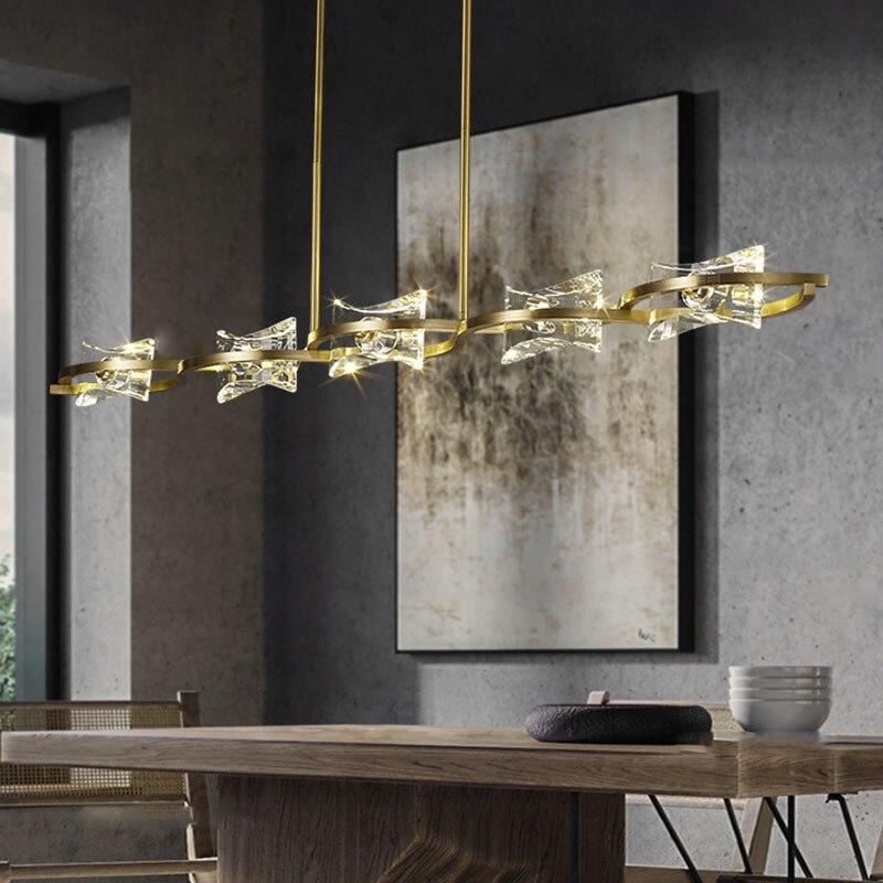 ضوء الفاخرة كريستال مطعم الثريا الحديثة بسيطة الطاولات الطويلة أضواء الثريا 2021 جديد مصمم مصابيح
