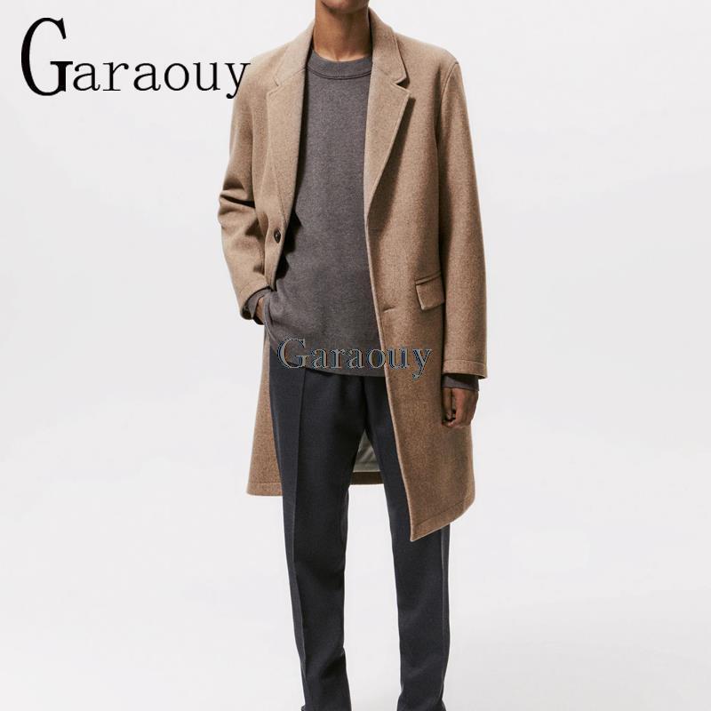 Мужское однобортное шерстяное пальто, утепленное Длинное свободное простое пальто с воротником-костюмом для отдыха и офиса, зима 2021