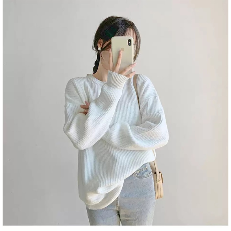 women pullover loose embroidery knitted solid color long sleeve jumper streetwear sweaters tops pullovers female clothes autumn Autumn Winter Loose Knitted Sweater Women Elegant O Neck Long Sleeve Pullovers Jumper Tops Loose Oversized Solid Female Sweaters