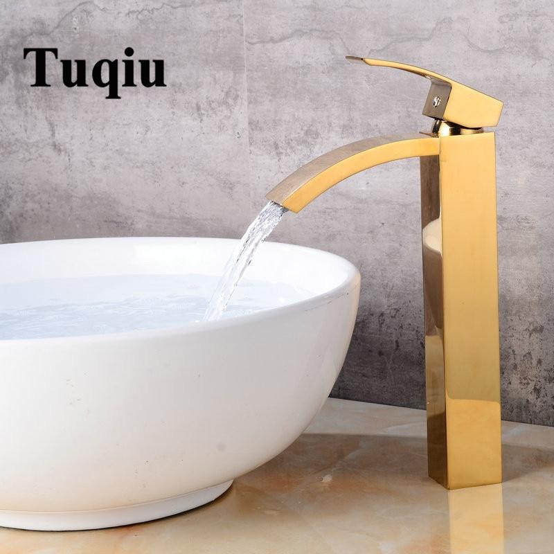 Tuqiu Basin faucet brass bathroom faucet single handle torneiras para pia de banheiro Gold sink Wash faucet waterfall faucet