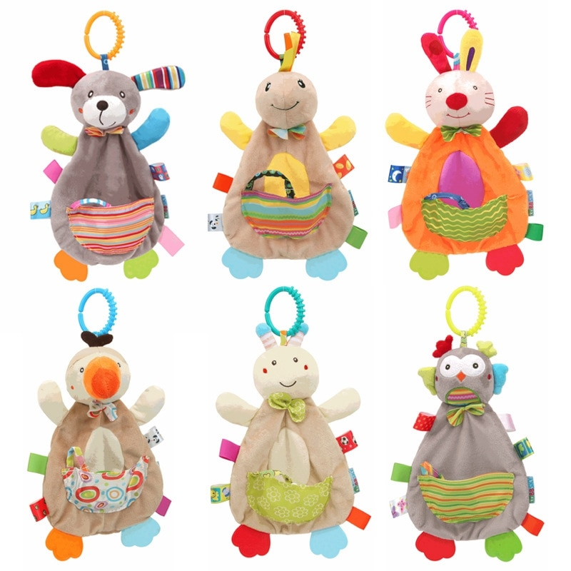 Los niños juguetes del traqueteo del bebé suave juguete bebé juguetes 0-12 meses lindo muñeco de peluche Animal juguete educativo para los niños cama colgante cochecito