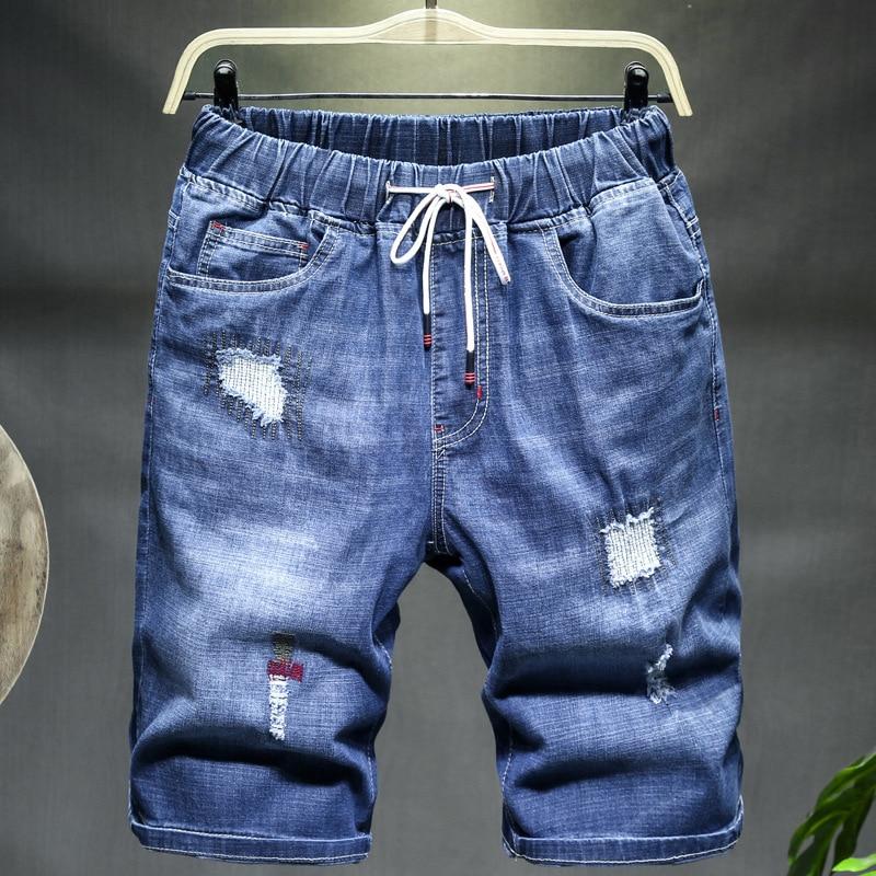 Plus Size 9XL 10XL Extra Large Size Loose Denim Short Summer Men's Shorts High Elastic Plus Size 48 50 52 Blue Black Jeans Short