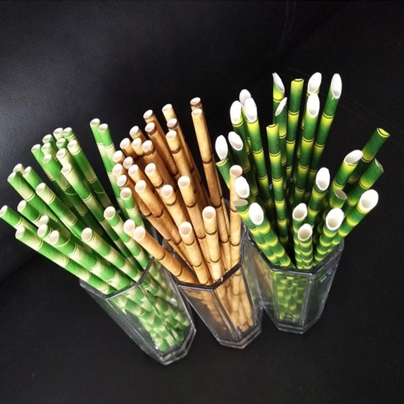 25 шт. панда Любимое детское платье зеленого цвета бамбука тематические соломинки Бумага креативные питьевые соломинки для вечеринок и свад...