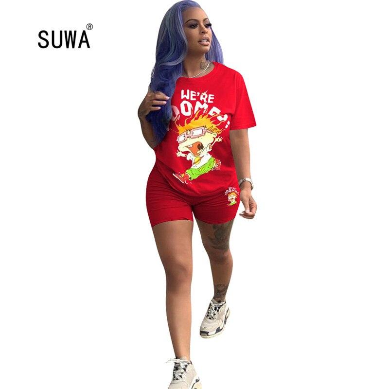 SUWA-طقم تي شيرت وشورت كارتون للأطفال ، طقم من قطعتين ، ملابس الشارع الصيفية ، تي شيرت بأكمام قصيرة ورقبة دائرية ، 3 ألوان