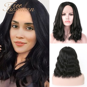 FREEWOMAN Synthetic Lace Front Wig For Black Women Short Water Wave Wigs Natural Wavy Hair Lolita Cosplay American styled