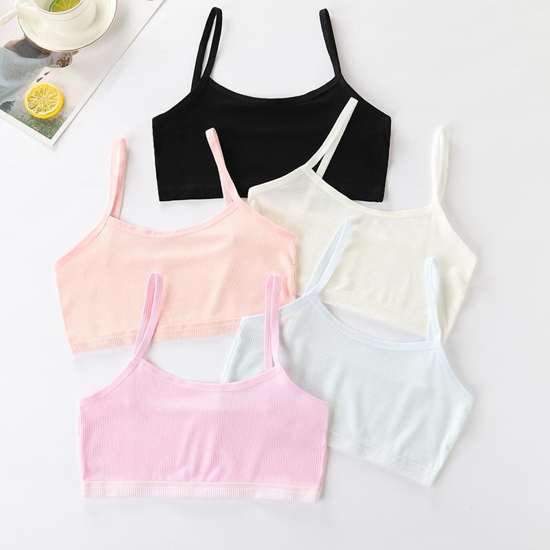 Girl Bra Hipster Cotton Teens Teenage Underwear Summer Kids Lace Vest Children's Breast Care 6-12 Y
