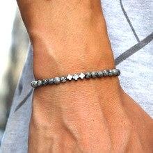 4mm hecho a mano de la piedra Natural brazalete de abalorios dije Cruz de hematita pulsera para los hombres pulsera Cruz joyería Homme Bileklik