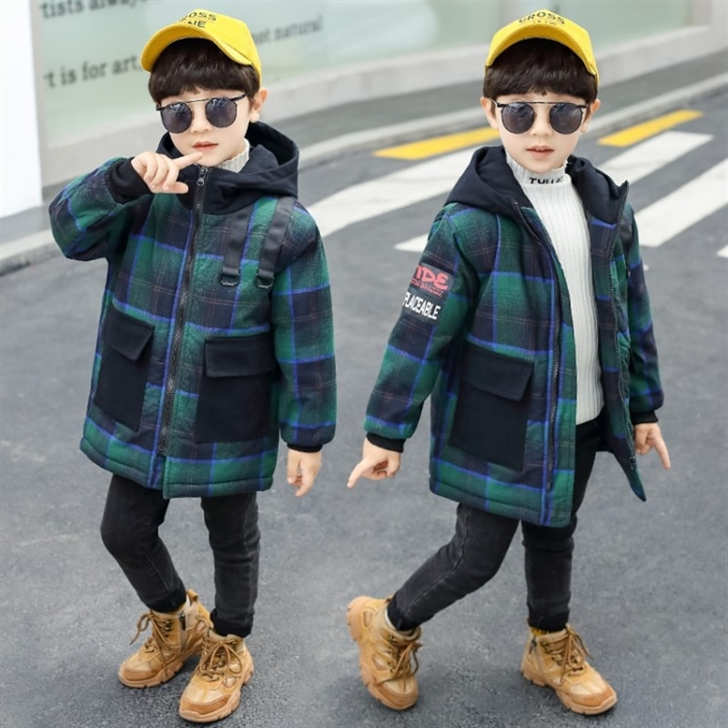 Children's thickened plaid cotton-padded clothes girls and boys warm hooded jacket baby Korean style padded jacket fashion enlarge