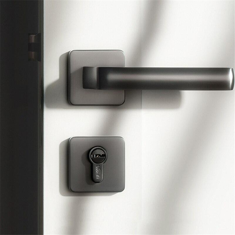 1 set رمادي/مقبض باب من سبائك الزنك الداخلية/مربع غرفة نوم قفل الباب سبليت قفل الباب الصامت ، الأجهزة الباب