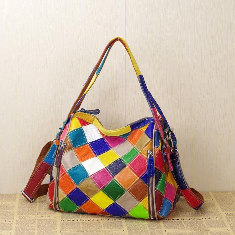 عالية الجودة جلد السيدات عادية المرقعة تصميم هندسي رسول حقيبة كتف الموضة النسائية اللون كتلة حمل حقيبة 435