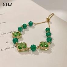 2021 New Fashion Natural Green Stone Bracelet Korean Green Crystal Flower Bracelet for Women Girls P