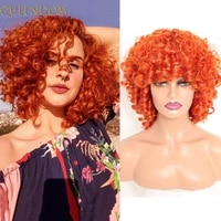 12 inch short bob curly orange wig afro kinky curly womens wigs with bangs synthetic ombre brown deep curly cosplay wigs female