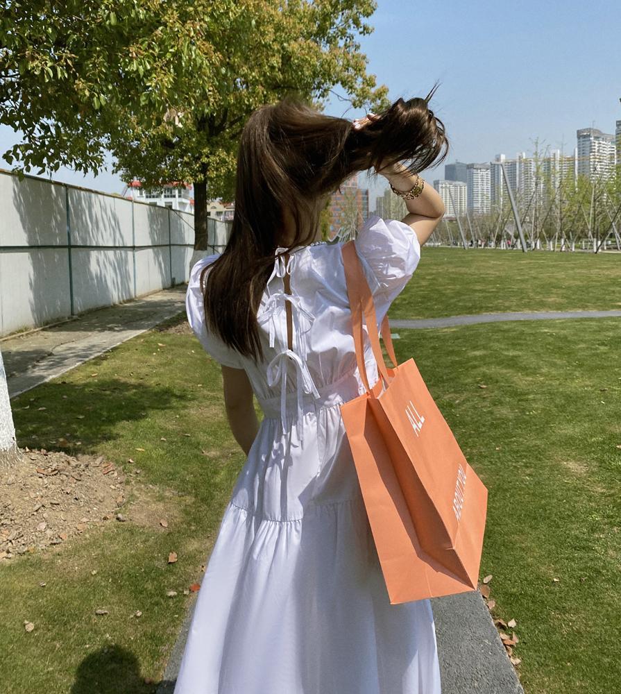 CMAZ Summer White Black Lacing Dress Female Sundress Long Elegant New Fashion Vocation Clothes For Women Casual Dresses 4094#