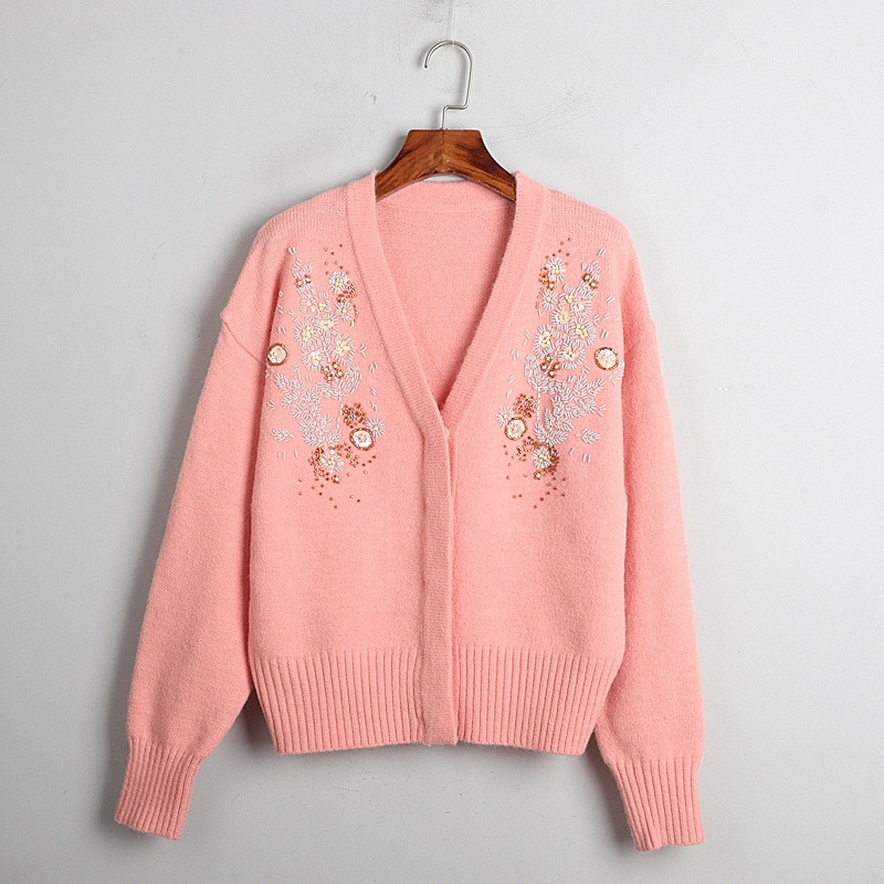 1101 2020   Autumn Sweater Free Shipping V  Neck Long Sleeve Kint Beads  Black  Pink Green  Fashion Womens Clothes  S m L    dl