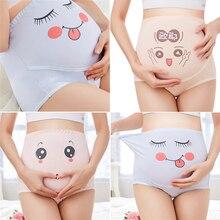Bragas de maternidad de M-3XL algodón de dibujos animados de cintura alta soporte para el vientre bragas de embarazo mujeres embarazadas transpirable ropa interior ajustable