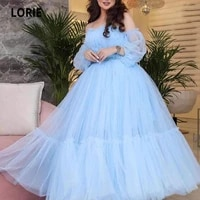 lorie arabic prom dresses 2021 beaded pleats a line light blue puff long sleeves evening gown celebrity party dress 2021