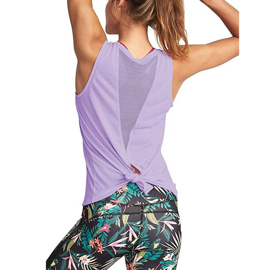 Camisetas de esportes para mulheres bonito yoga treino malha camisas activewear sexy aberto para trás esportes tanque #30