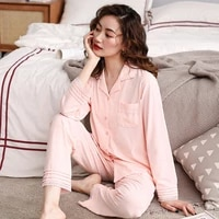 womens pajamas modal cotton silk suit spring and autumn thin long sleeve pajamas womens korean large size can be worn at home