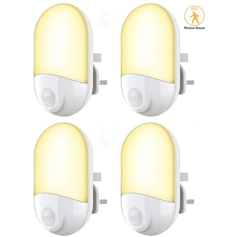 3.6W LED ليلة ضوء مصباح للطفل الاطفال غرفة ، المدخل ، الدرج ، نوم ، الحضانة (4 حزم-الأبيض)