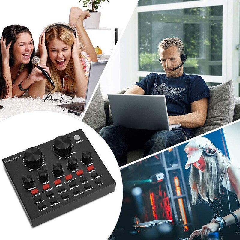 Tablero mezclador de sonido V8 para transmisión en vivo, cambio de voz, tarjeta de sonido con múltiples efectos de sonido, mezclador de Audio en casa