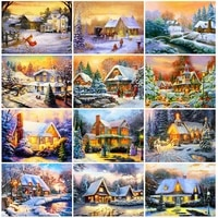 full drill 5d diamond embroidery house diamond painting town picture of rhinestones mosaic winter scenic cross stitch home decor