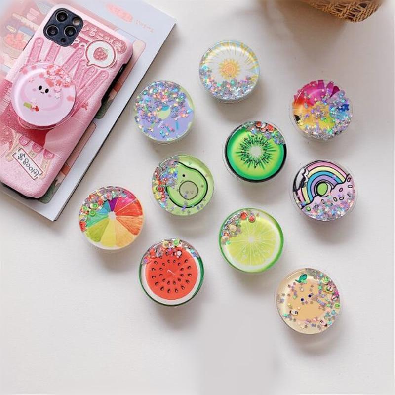 Quicksand Fruits Rainbow Expanding Stand Mount Phone Socket Fold Mobile Smartphones Pocket Desktop B
