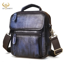 Grain Genuine Leather Male Retro Blue Tote Messenger bag Design Satchel Crossbody One Shoulder bag 9