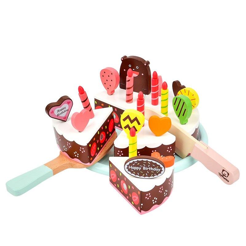ToyWoo Roleplay Toys Cake Cutting Fruit Chocolate Matcha Birthday for Boys and Girls Toy Set