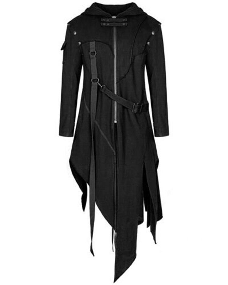 Jodimity homem estilo gótico hip hop trench coat com capuz manto irregular design longo cardigan rua punk vintage jaquetas